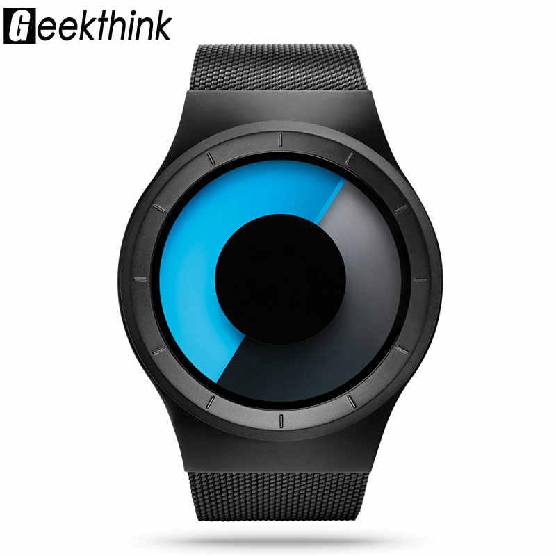 Creative קוורץ שעונים גברים למעלה יוקרה מותג מקרית נירוסטה Mesh בנד יוניסקס שעון שעון זכר אדון נשי מתנה