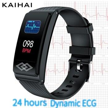 цена на 24 hour dynamic ECG HRV SpO2 Blood oxygen Heart rate monitor smartband Fitness Tracker smart bracelet band watch sleep wristband