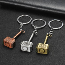 Movie Marvel Comics Avengers Thor Key Chain Alloy Hammer Pewter Pendent Keychains Super Hero Key Rings Car Key Holder Wholesale(China)