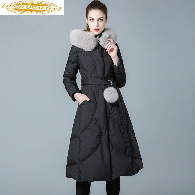 Winter Coat Women 90% White Duck Down Jacket Woman Hooded Fox Fur Collar Long Down Coats Puffer Jacket 2020 8841199 KJ2620