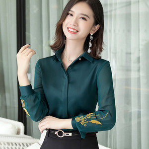 Image 3 - Professional Satin Shirt Women 2019 New Autumn Fashion Embroidered Long Sleeve Slim Blouses Office Ladies Work Tops