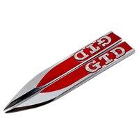 Боковое крыло наклейки форма лезвия металлический значок-эмблема наклейки GTD логотип для Фольксваген Гольф 6 7 Touran Polo GTI Passat Touran