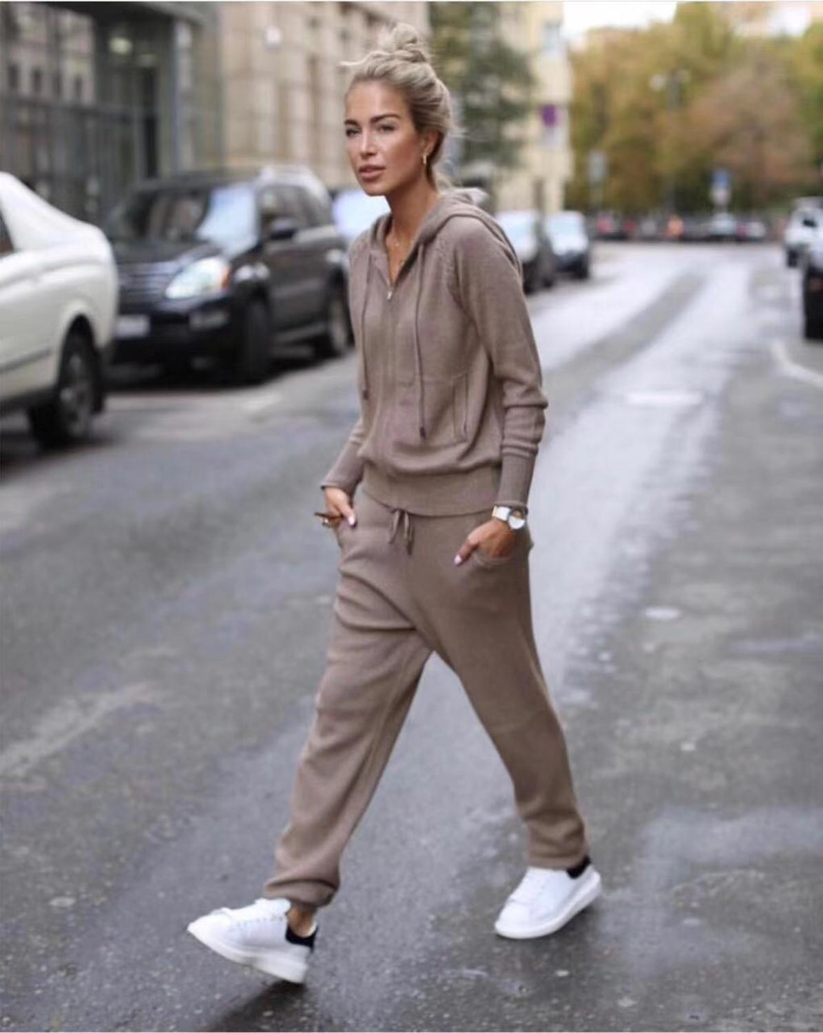 2019 Time-limited Wool Full Winter New Cashmere Two-piece Women's Casual Hooded Sweater Knit Trousers 2 Piece Suit Female