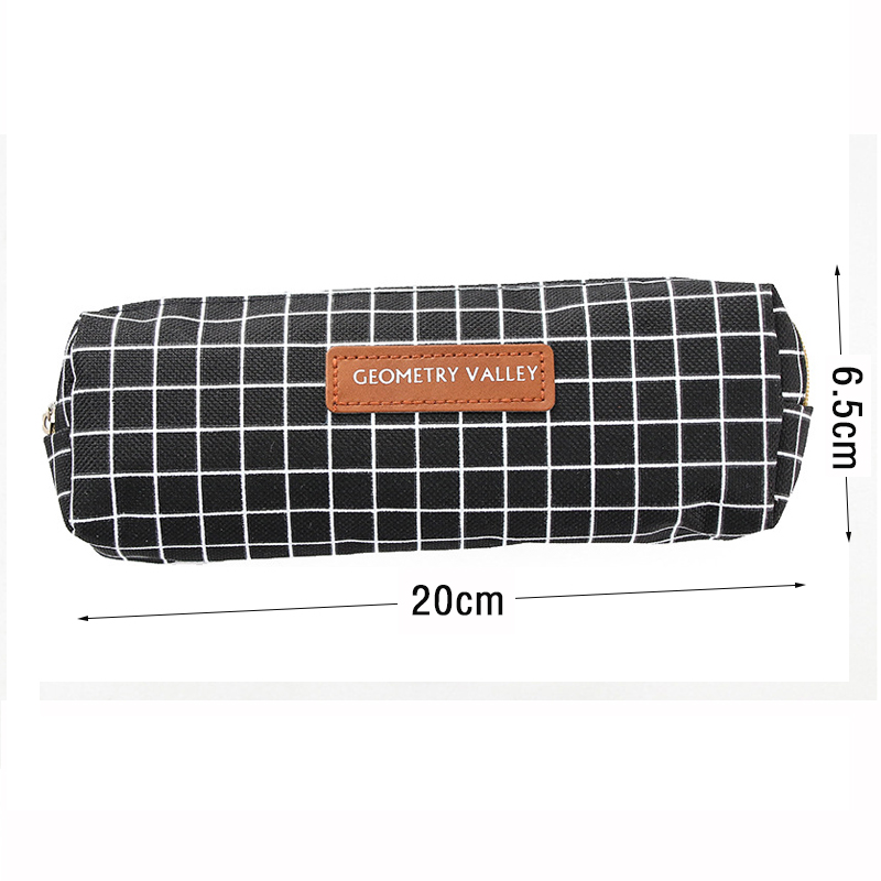 Creative Grid Dot Pen Bag Student Canvas Pencil Bag Korean Stationery Storage Bag for Student Gifts School Office Supplies in Pencil Bags from Office School Supplies
