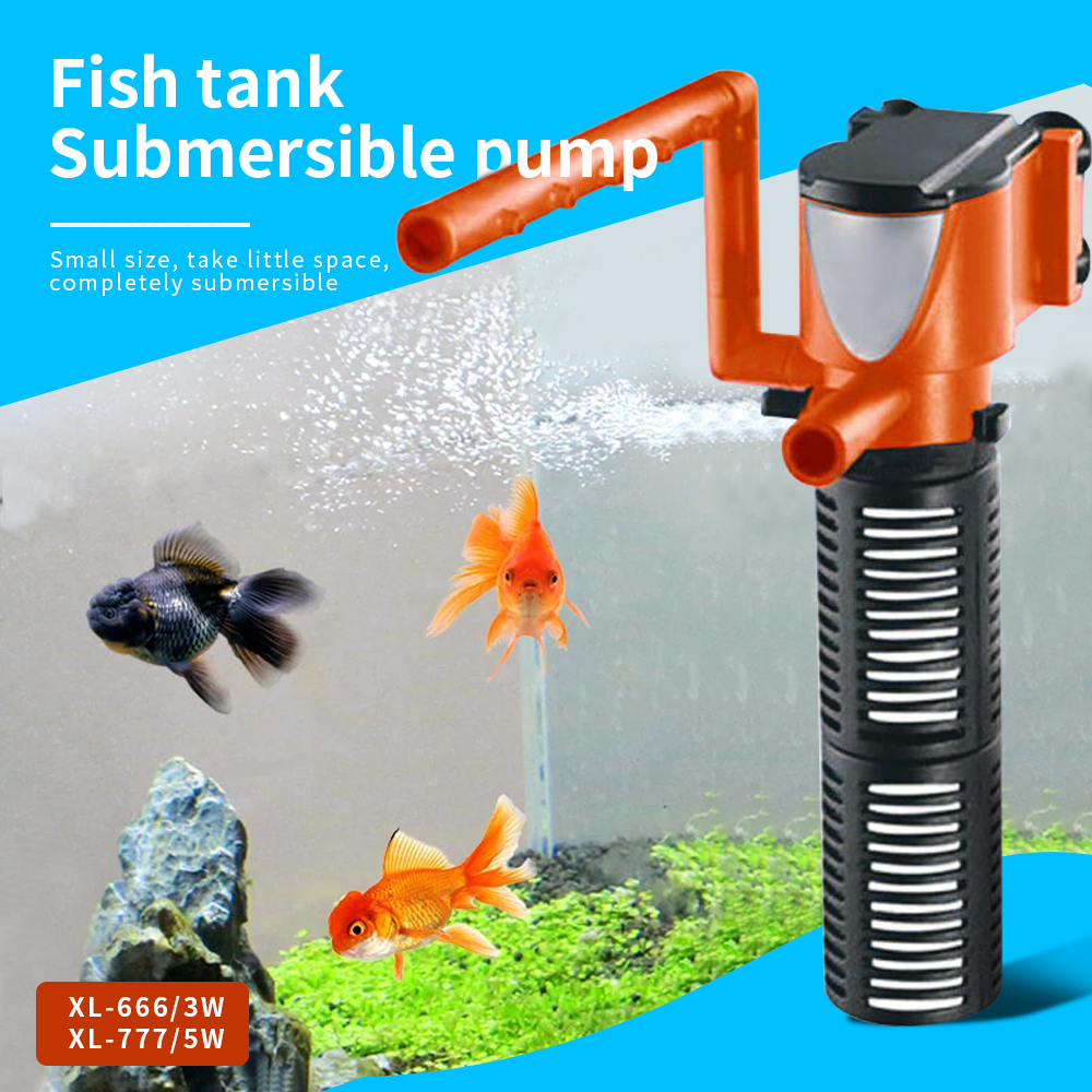 Mini Aquarium Filter 3in1 3W 5W Aquarium Internal Filter Oxygen Submersible Water Pumps For Fish Tank Pond Aquarium Filters