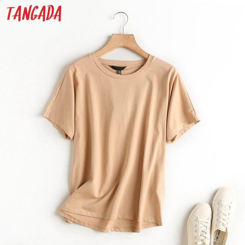 Tangada-Camiseta básica de algodón de color caqui para mujer, ropa de manga corta con cuello redondo, informal, 6D5, 2020