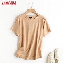 Tangada 2020 women khaki basic cotton T shirt short sleeve O neck tees ladies casual tee shirt street wear top 6D5