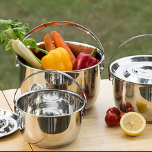 Outdoor Stainless Steel Three-piece Pot Thickened Three-layer Bottom Picnic Hiking BBQ Camping Portable Hanging