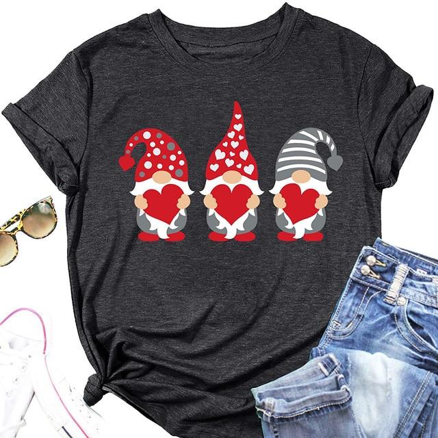 #S0 Women Harajuku Tshirt Love Assortis Gnome Print Round Neck Funny Kawaii T Shirt Graphic Tees Tops Valentine's Day Gift 2