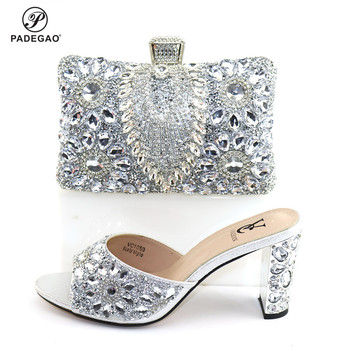 New Design Nigerian Women Shoes and Bag Set with Shinning Crystal Nigerian Lady Shoes and Bag Set in Silver Color for Wedding