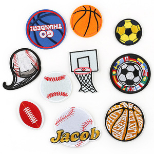 Iron on Patches for Clothing Stripe Football Basketball Sport Badge Sticker on Clothes for Kids DIY Applique Embroidered Patches