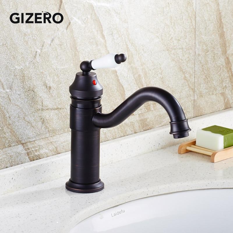 Vente en gros et au détail salle de bains robinet en céramique noir 360 bec pivotant Antique élégant évier mélangeur robinet lavabo robinets ZR254