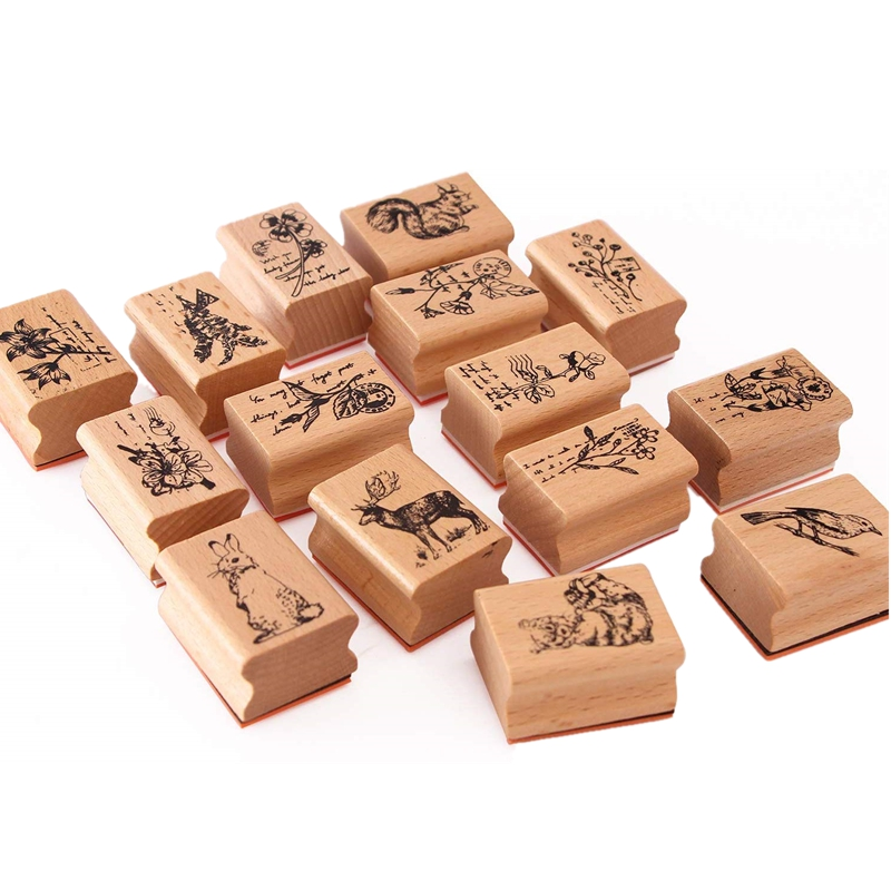 Forest World Cute DIY Wooden Rubber Stamps Diary Scrapbooking Stamps Set