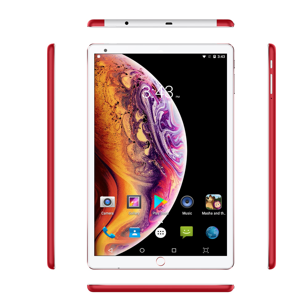 10.1 Inch Tablet PC Android 7.0 3G Phone Call Octa Core 4GB 64GB Google Play 1.5GHz Dual SIM Support GPS OTG Wi-Fi Bluetooth Red