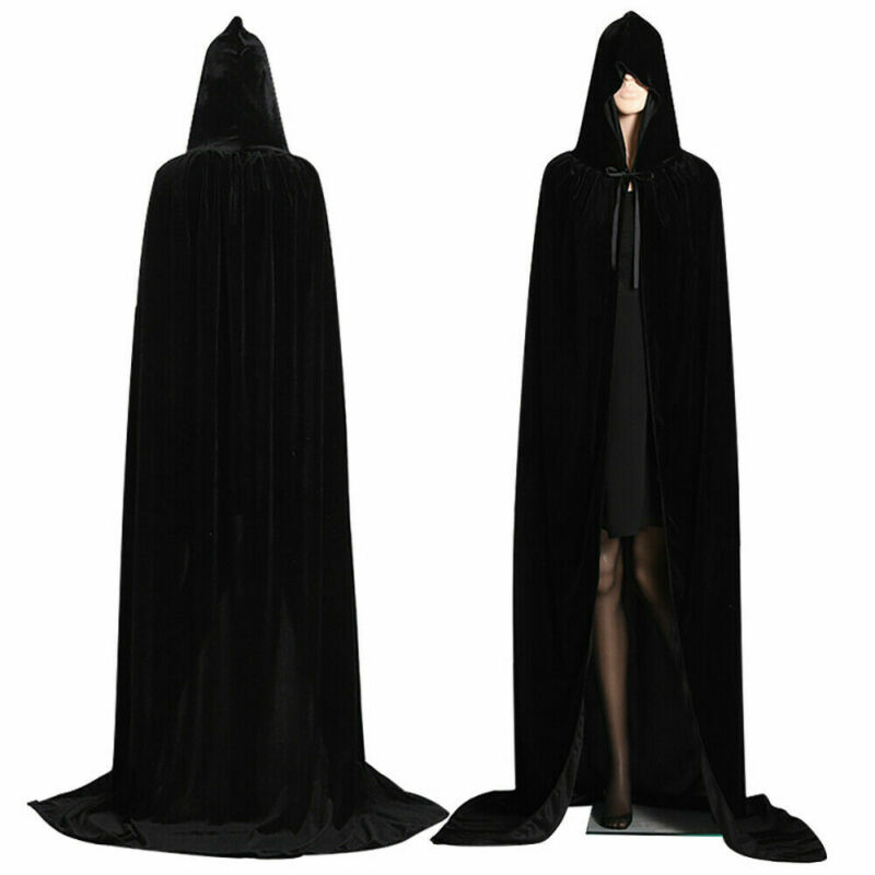 Adult Halloween Velvet Cloak Cape Hooded Medieval Costume Witch Wicca Vampire Men Women Scary Costumes