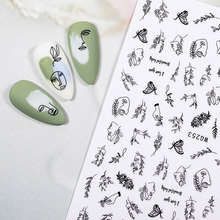 LEMOOC Nail Stickers Summer Graffiti Nail Art Geometric Lines Decal 3D Adhesive Sliders DIY Decoration All for Manicures