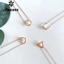 ANI 18K Solid Rose Gold Necklace Natural Freshwater White Pearl Engagement Necklace Heart Shape Pendant for Women Triangle Stlye