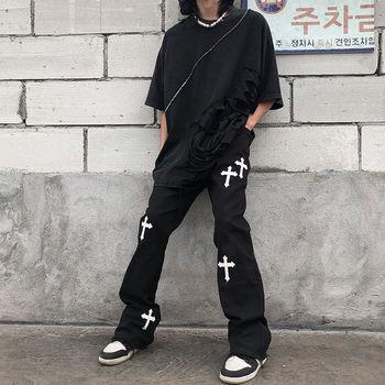 Nowy 2021 hiphop nadrukowana marka krzyż kombinezony dorywczo luźna w stylu retro spodnie z wysokim stanem streetwear gotyckie spodnie dla mężczyzn i kobiet tanie i dobre opinie BiggOrange Cztery pory roku Proste CN (pochodzenie) POLIESTER COTTON Na zakupy Na co dzień HIGH Mieszkanie haft LOOSE Pełna długość