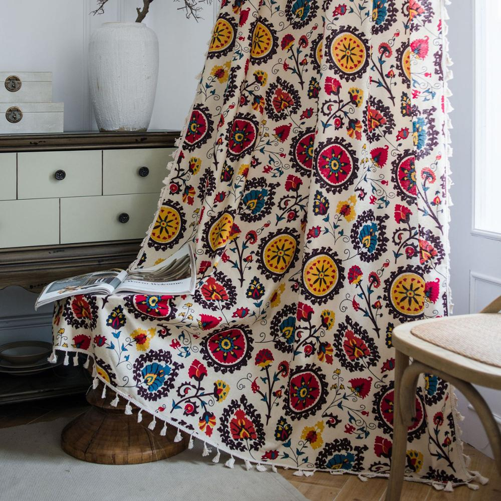 Sun Flower Curtain For Living Room Blinds Bedroom Bay Window French Window kitchen Cotton Linen Finished Curtain With Broom lace