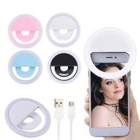 USB Selfie Led anillo Flash Luz Portátil Selfie para teléfono lámpara teléfono anillo de luz para fotografía Flash luz luminosa anillo Clip nuevo