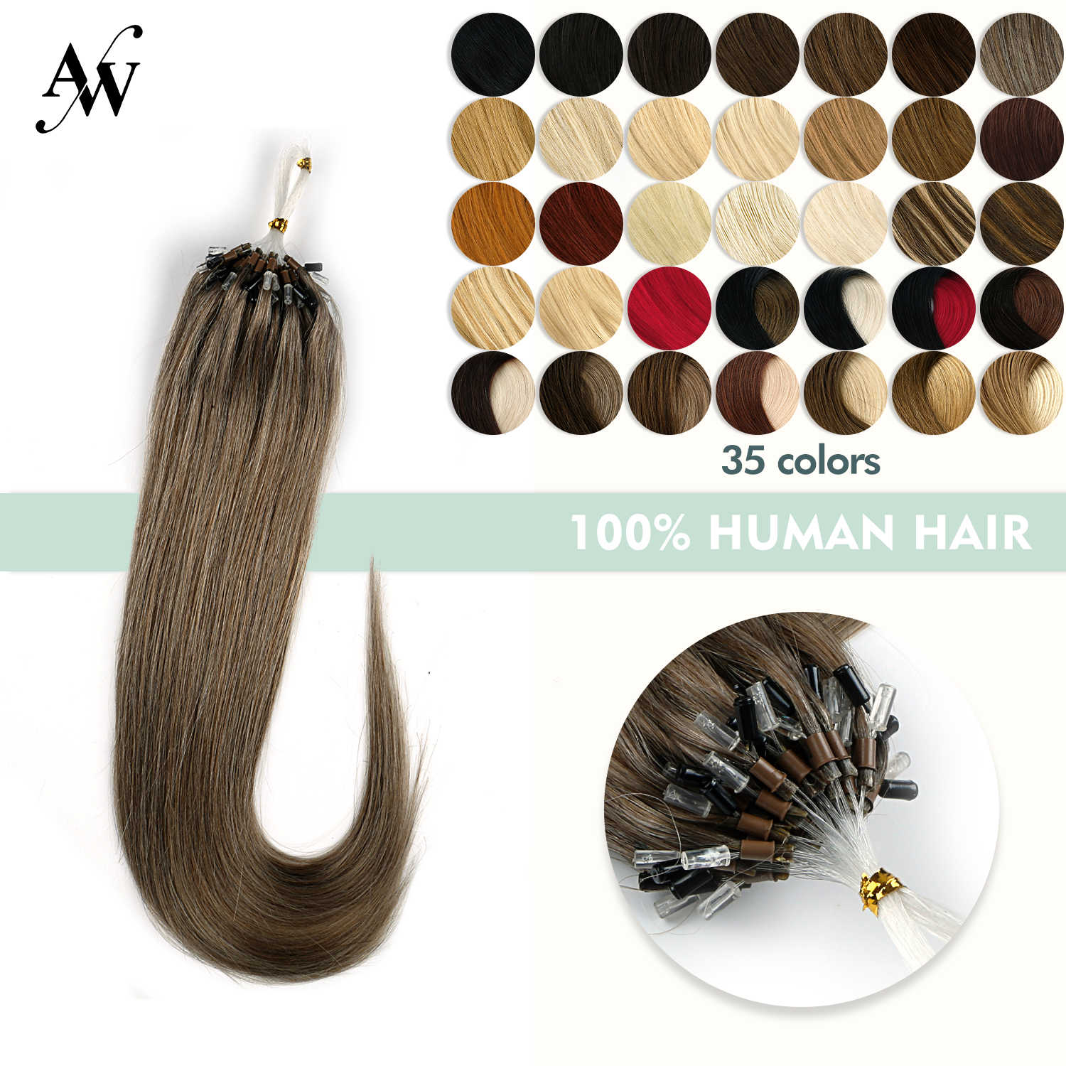 Aw 16 ''20'' 24 ''Micro Loop Human Hair Extensions Straight Machine Gemaakt Remy Micro Bead Hair Extensions 1 G/s