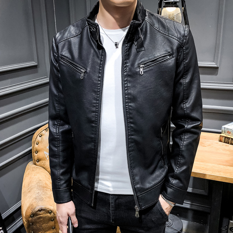 Leather Jacket 2019 Autumn MEN'S Coat Youth PU Leather Korean-style Slim Fit New Style Trend Spring And Autumn Velvet Hoodie