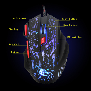 Image 5 - HXSJ J50 Ergonomic Keyboard And Mouse Combo Colorful Backlight One Handed Wired Gaming Keyboards 5500DPI PC Gamer Set For LOL CS