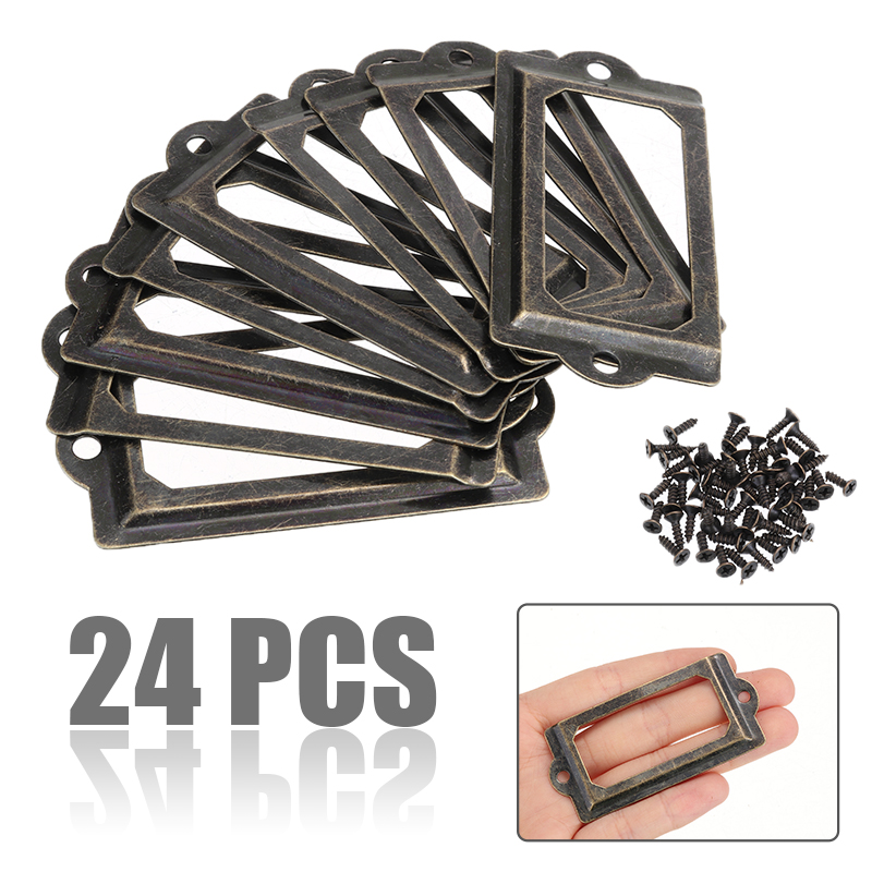 24pcs 70*33mm Iron Drawer Cabinet Label Pull Frame Handle Name Card Holder with 48pcs Screws For Furniture Cabinet Drawer Box