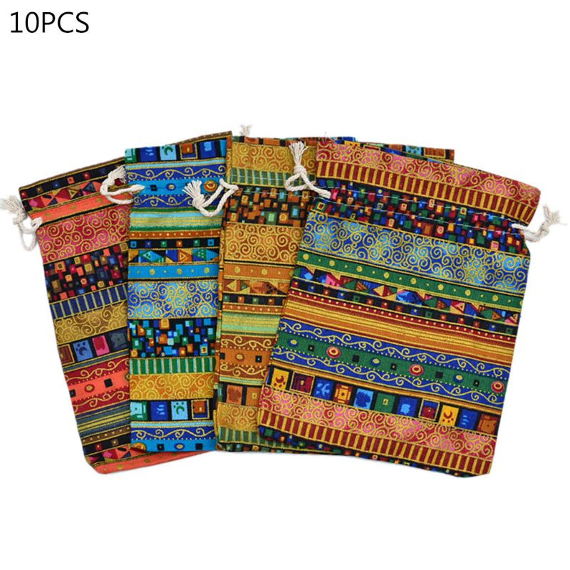 10pcs Mini DND Dice Bag Board Game Tarot Card Storage Bag Jewelry Bag 10*14cm
