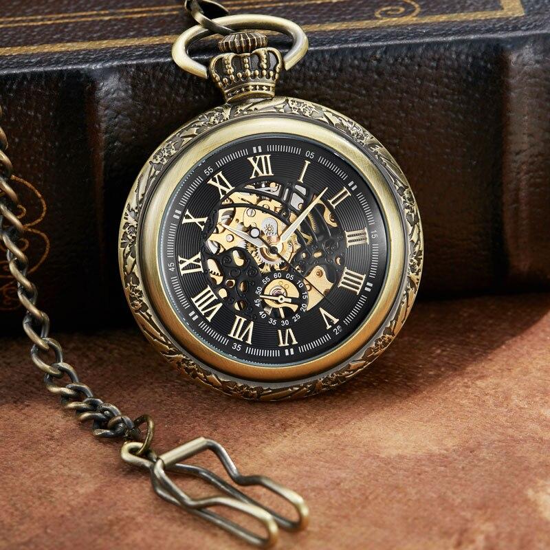 Marrom do Vintage Relógio de Bolso Vere para Mulheres Oco de Ouro Roman Dial Cadeia Mehanical Suave Skeleton Vento Mão Mecânica Homens Fob