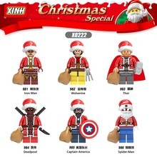 Marvel Super Heroes Christmas Building Blocks Figures Iron Man Wolverine Thor Deadpool Captain America Spiderman Model Toys Gift(China)