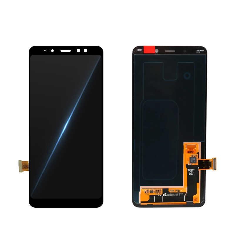 الأصلي شاشات lcd لسامسونج غالاكسي A8 2018 شاشة الكريستال السائل A530 A530F شاشة إل سي دي باللمس شاشة قطع غيار محول رقمي الجزء شحن مجاني