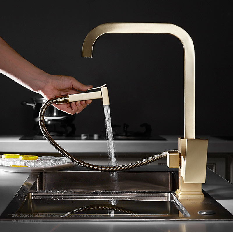 Nordic Copper Rotating All Kitchen Faucet Household Basin Sink Sink Food Hot And Cold Smoked Pull Type Faucet Brushed Gold