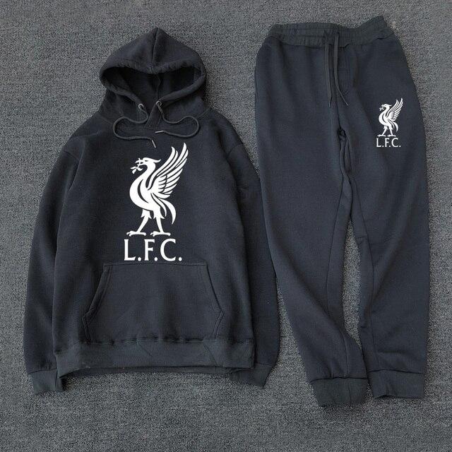 Fashion Men's Sportswear Casual Hooded Sportswear Set 2020 New Liverpool Football Sportswear + Men's Hooded Sportswear
