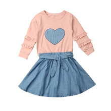 Infant Kids Baby Girl Clothes Ruffle Tops T-shirt+Tutu Skirt Dress Outfits Set 1 5t toddler kids baby girl clothes set long sleeve ruffle tops denim skirt dress set elegant summer fashion outfit set