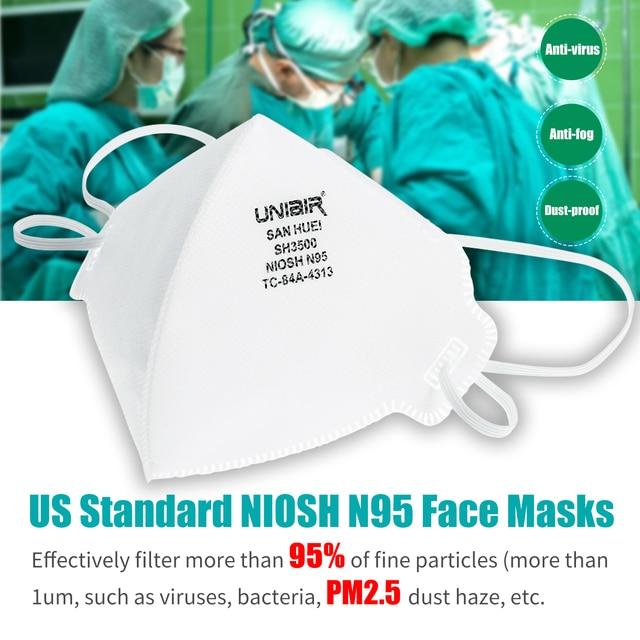 20PCS NIOSH N95 Masks US Standard  Anti-fog Haze Dust-proof Face Masks  N95 for Exhaust Gas Allergies Pollen PM2.5 2