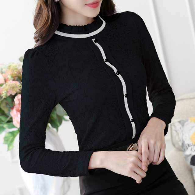 2020 Women Elegant Long Sleeve Shirt Lace Blouse Female Stand Puff Sleeve Solid Tops Shirt plus size 3XL 2