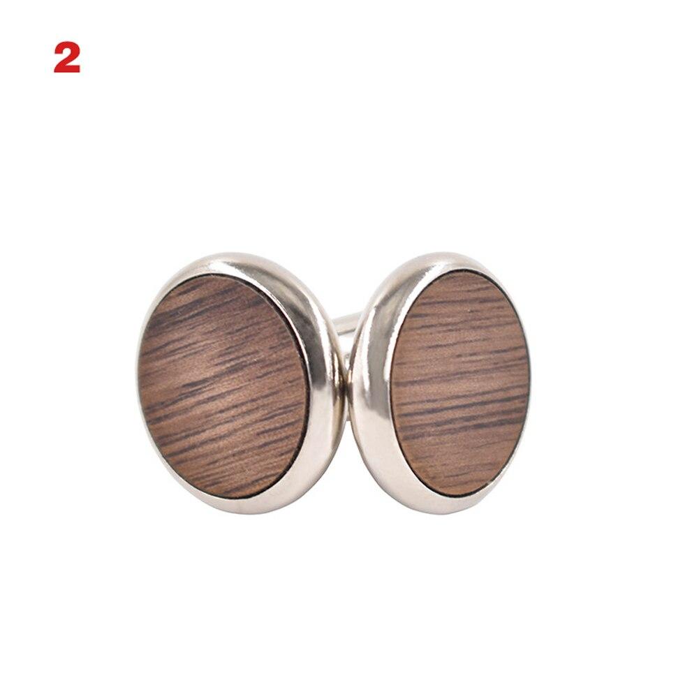 1 Pair Trendy Round Walnut Wood Cufflinks Blank Cuffs Men Shirt Accessories Gifts SER88