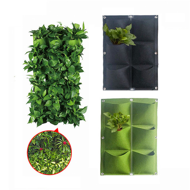 Garden Plant Wall Hanging Planting Bag 2/6 Pocket Planting Bag Planter Vertical Garden Vegetable Iife Garden Bag Household Goods