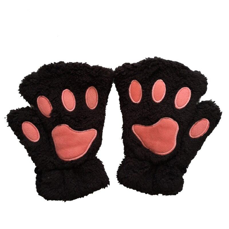 Women Lovely Cartoon Fluffy Bear Cat Claw Paw Mittens Winter Female Half Finger Plush Gloves Girls Warm Fingerless Gloves