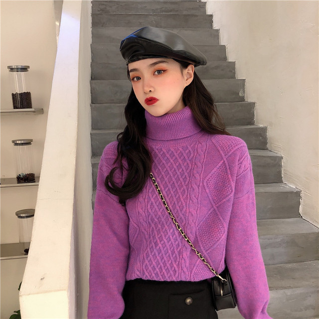 Ailegogo New Women Spring Turtleneck Pullovers Casual Female Knitted Loose Fit Sweater Retro Solid Color Ladies Knitwear Tops 2