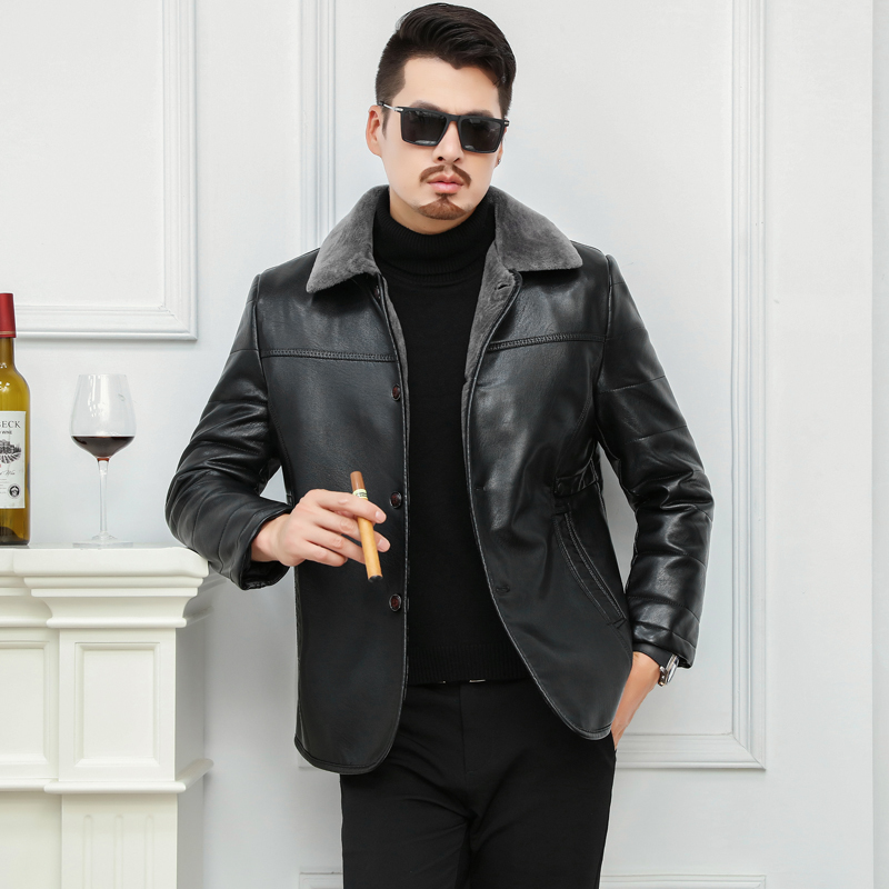 Big Size 6XL High Quality Men's Real Leather Bomber Jacket With  Fur Collar Genuine Leather Pigskin Jackets Winter Warm Coat Men