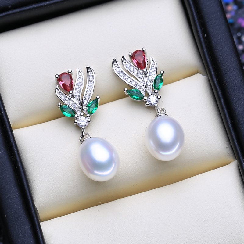 FENASY 925 Sterling Silver Natural Freshwater Pearl Jewelry Sets for Women Pearl Necklace Ruby Earring ring Idea Gift