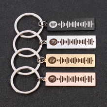 Code-Keychain Keyring Jewelry Laser Spotify Engraved-Song Christmas Custom Music Personalized