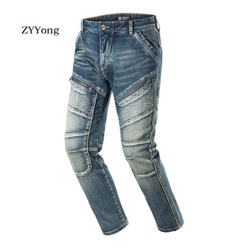 цены ZYYong High Quality Zip Straight Jeans Men's Slim Retro Color Small Straight Jeans Casual Classic Fashion Style Denim Trousers