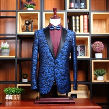 JRHYME Blue Floral Printing Notched Lapel Blazer Masculino,One Button Mens Jacket,Wedding Groom Casual Men