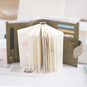 Image 5 - الوافدين الجدد خواتم جلد طبيعي دفتر A7 حجم الفضة الموثق جدول الأعمال المصغر منظم جلد البقر دفتر يوميات مخطط جيب كبير