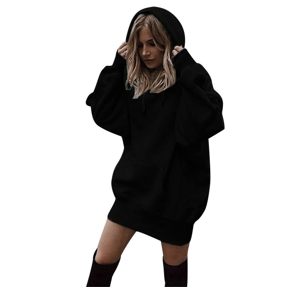 With Pocket Daily Solid Color Women Hoodies Fashion Casual Autumn Winter Cotton Blend Loose Tops Warm Thickened Oversized
