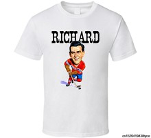 Maurice Richard Montreal Hockeyer Vintage Caricature T Shirt(China)