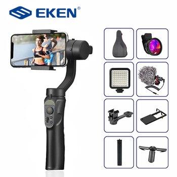 EKEN H4 3 ejes de carga USB Video Universal ajustable Dirección de cardán portátil Smartphone estabilizador Vlog en directo